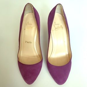 Christian Louboutin Declic 120 Suede Pumps 37 1/2